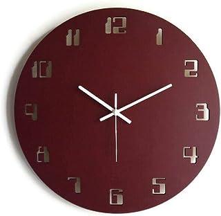 42cm Grande orologio da parete senza ticchettio con numeri digitali dei vecchi computer colorato come rosso bordeaux Parti...