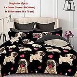 Juego de ropa de cama para perros,juego de fundas nórdicas de cachorro de perro de dibujos animado lindo 3D Juegos individuales/completos/Queen/King Ropa de cama para niños con ropa de cama para niñas