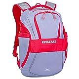 RIVACASE 5225 Mercantour 39,6 cm (15,5 Zoll) Laptop Rucksack mit Schultergurt, lichtreflektierende Reisetasche, versteckte Taschen, Rucksack, Studenten Rucksack, Laptop, Notebook (Grey_red)