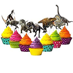 5. Citadel Black Dinosaur Cupcake Toppers (24 Pack)