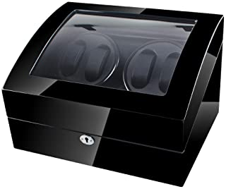 Vtime 4+6 Automatic Watch Winder, Watch Display Case, Wooden Black Watch Holder Box with Quite Motor, Blue Lights, Polished Finish and Brass Knob (Black+Black)