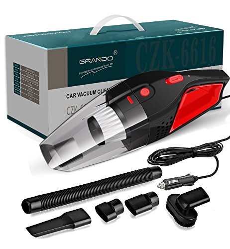 GRANDO Auto-Handstaubsauger, DC 12-Volt 120W 3100-3500 Nass/Trocken Handselbststaubsauger,16.4FT (5M) Netzkabel mit Ein Tragbares Paket, Schwarz/Rotes Design