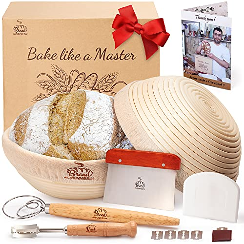 BREAD BUNNIES 9' Banneton Bread Proofing Round Basket Set of 2 for Baking | Sourdough Making Starter Kit w/ Baskets, Bowl & Dough Scraper, Whisk, Scoring Lame, Replaceable Blades | Bakers' Tool Gifts