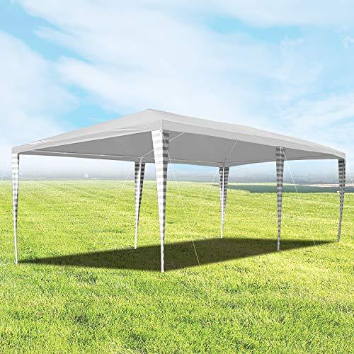 Hengda Cenador de jardín 3 x 6 m con protección UV para Fiestas, Carpa para Bodas y Fiestas al Aire Libre, jardín, Acampada, Blanco