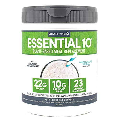 Designer Protein Essential 10 Madagascar Vanilla 132 Pound Plant Based Meal Replacement Protein Powder Made in USA