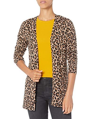 Amazon Essentials Cardigan Leggero Aperto sul Davanti Sweaters, Animale di Erica di Cammello, 50