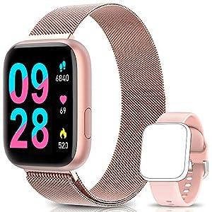 BANLVS Smartwatch Reloj Inteligente IP67 con Correa Reemplazable Pulsómetro, Monitor de Sueño, Presión Arterial, 1.4 Inch Pantalla Táctil Completa Reloj Inteligente para Mujer Hombre (Rosa) 5