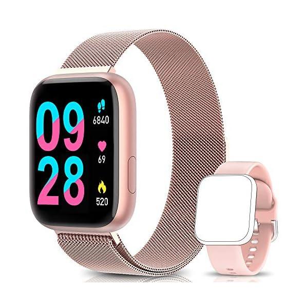 BANLVS Smartwatch Reloj Inteligente IP67 con Correa Reemplazable Pulsómetro, Monitor de Sueño, Presión Arterial, 1.4… 1