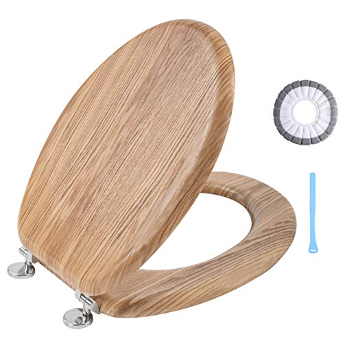 Angel Shield High-Quality Antibacterial Wooden Toilet Seat Adjustable Hinges Toilet Seat Always Fits Never Slips for Bathroom, 45 x 37 x 5.2 cm (Solid Oak)