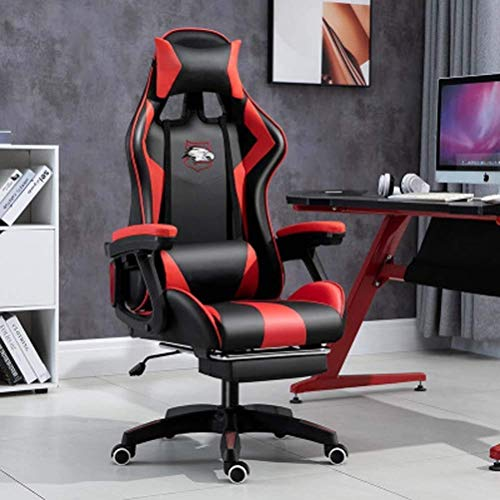 WSDSX Office Chairs Gaming Chair with Bluetooth Speakers, Ergonomic Swivel Office Chair Home Computer Desk Chair,with Lumbar Support Headrest Footrest Executive PU Leather Chair E-Sports