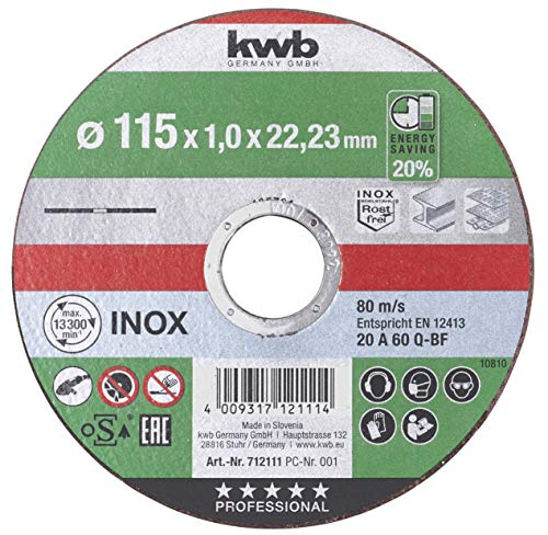 kwb 712111 - Disco de corte extrafino (velocidad de 115 mm, 115 x 1,0 mm, para amoladora angular, disco flexible adecuado para acero inoxidable y metal, orificio de 22,23 mm, 115 x 1,0)