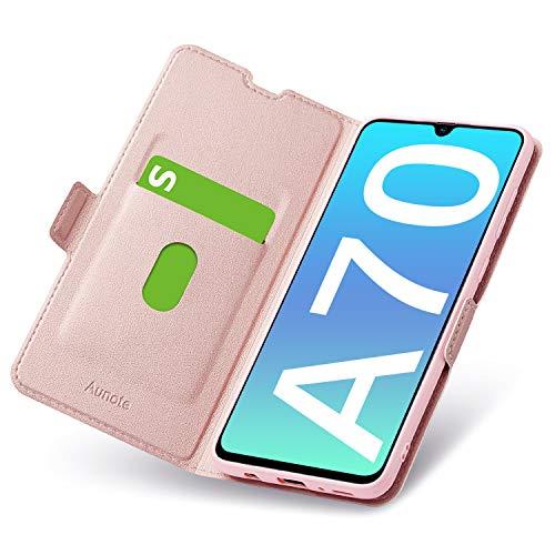 Aunote Samsung Galaxy A70 Hülle, Samsung A70 Schutzhülle mit Kartenfach, Handyhülle Tasche, Leder Etui Folio Flip Cover Hülle, PU TPU Klapphülle Komplettschutz Samsung A70 Phone 6.7 Zoll. Rosegold