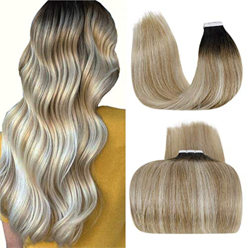 LaaVoo Tape in Hair Extensions Human Hair Ombre Black Balayage Tape Hair Extensions Invisible Skin Weft 14' Ombre Black to Brown Mixed Platinum Blonde Double Side Remy Tape on Hair Extension 50g 20pcs