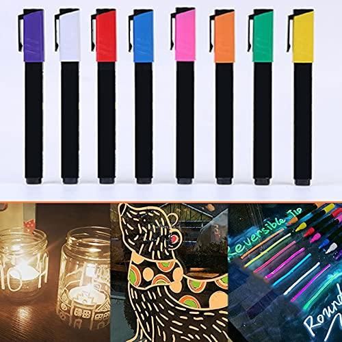 QKFON Pack de 8 marcadores marcadores marcadores fluorescentes reversibles de 6 mm para tablero de menús LED, dibujo de anuncios (morado, blanco, rojo, azul, rosa, naranja, verde, amarillo)
