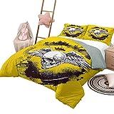 Juego de ropa de cama de edredón Funda de edredón de tatuaje con patrón El dibujo de calavera coronada de ángel de la muerte con alas de plumas anchas y magníficas, tamaño King, espalda amarilla y bla