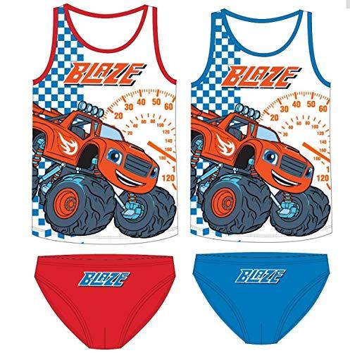 Blaze Monstertruck 2er Unterwäsche Set Jungen Garnitur Hemd Slip weiß hellblau grau (110-116)