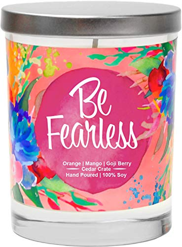 Be Fearless | Orange, Mango, Goji Berry | Luxury Scented Soy Candles |10 Oz. Clear Jar Candle | Made in The USA | Decorative Aromatherapy | Unique Gifts for Women or Men | Mom, Wife, Friend