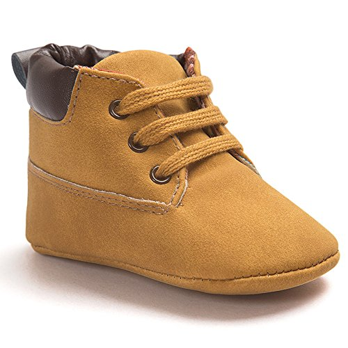 Voberry Toddler Baby Boy's Leather Sneaker Shoes Lace up Snow Boots Warm (0~6Month, Khaki)