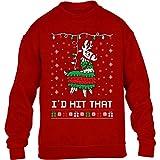 Shirtgeil Lama pignatta di Natale - Ugly X-mas Game Maglione per Bambini e Ragazzi 9-11 Anni Rosso