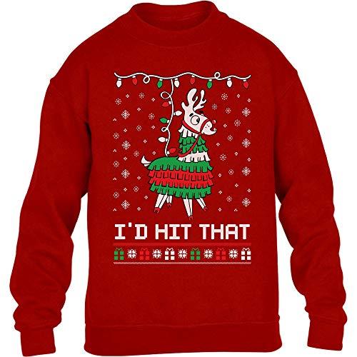 Shirtgeil Lama pignatta di Natale - Ugly X-mas Game Maglione per Bambini e Ragazzi 12-14 Anni (152-164cm) Rosso