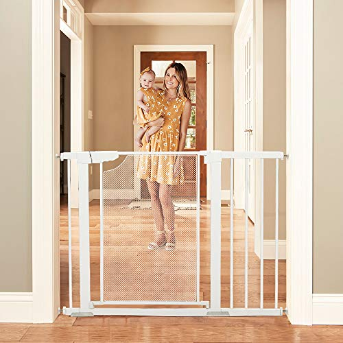 Heele Metal Mesh Baby Gate 29.5-35 Inches and 40.5-46 Inches Wide Auto Close Safety Easy Walk Thru Door Pressure Mount and Hardware Mounted Dog Gates for The House Stairs Doorways Hallways