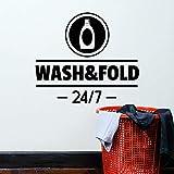 HGFDHG Lavado de Palabras Plegables calcomanías de Pared detergente lavandería Servicio de Limpieza decoración de Interiores letreros Puertas y Ventanas Pegatinas de Vinilo Papel Tapiz