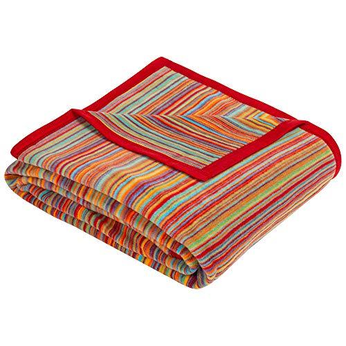 Ibena Malang Kuscheldecke 150x200 cm – Wohndecke bunt, fröhliche Streifendecke aus hochwertiger Baumwollmischung, kuschelweich & angenehm warm