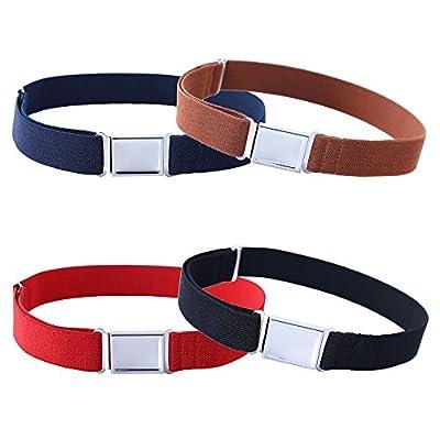 4PCS Kids Boys Adjustable Magnetic Belt - Elastic Belt with Easy Magnetic Buckle (Navy Blue/Brown/Red/Black)