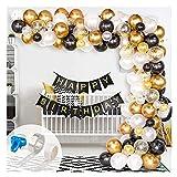 Globos de oro Globo 123pcs Black White Gold Confetti and Metal Latex Balloons Arch & Garland Kit para Año Nuevo Cumpleaños Decoración de graduación Latex Balloon Arch Kit y Garland Kit por fengl cuars
