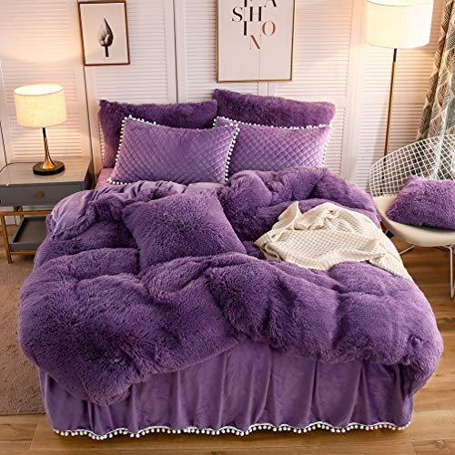 LIFEREVO Luxury Plush Shaggy Duvet Cover Set (1 Faux Fur Duvet Cover + 2 Pompoms Fringe Pillow Shams) Solid, Zipper Closure (Queen, Purple)