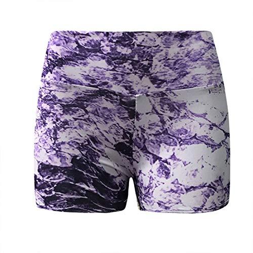 Leggins Deportivos Casual de Estampado Pantalones Cortos de Cintura Alta para Mujer Pantalón Push Up Shorts Transpirables y Elásticos Mallas de Yoga para Correr Gym Fitness