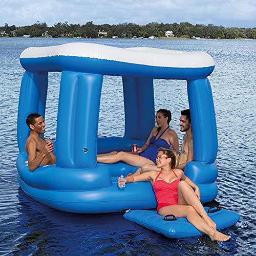 LHYCM Balsa De Isla Flotante con Parasol, Flotador De Piscina Inflable De 4 Asientos para Adultos, Paseo En Balsa De Piscina, Divertido Juguete De Piscina