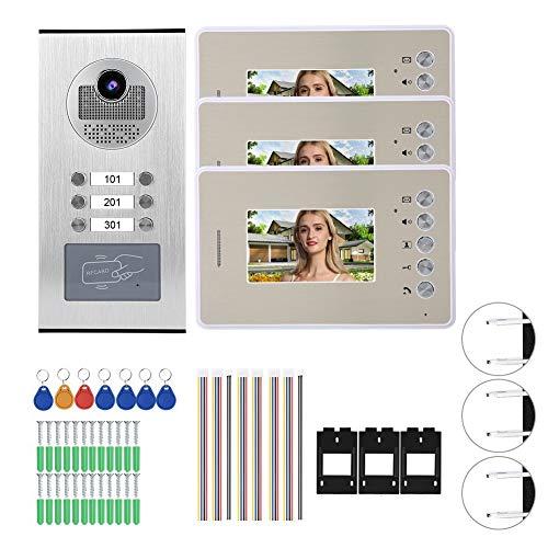 Timbre para videoportero Video Intercom 4.3in 3 Monitors Night Vision Timbre Inteligente Bajo Consumo De Energía Y Sistema De Alta Definición Puerta 100-240V (EE. UU.)