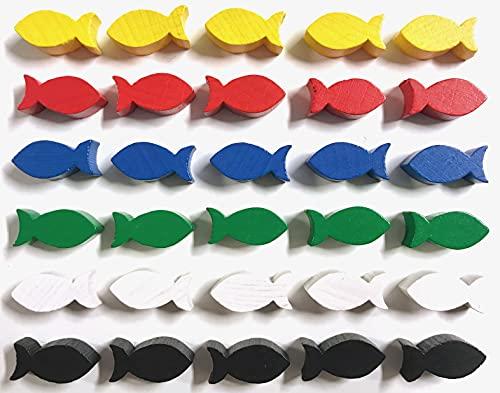 Spielsteine aus Holz für Brettspiele - Tiere / Fische (Fisch 22x10x8 mm - 6 Farben, 30 Fische = 6 x 5 Fische)