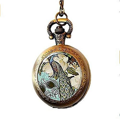N / A Taschenuhrkette, Weinlese-Art-Taschen-Uhr-Halsketten-Antike-Bronze-Legierung Fine Jewellery Stück viktorianischer Stil Pfau Schmuck Glaskunst