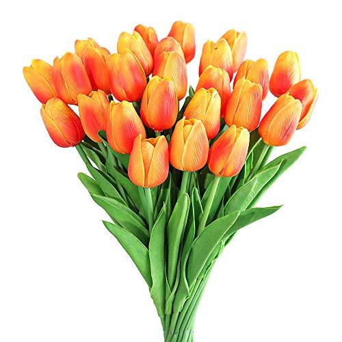 Kisflower 30Pcs Künstliche Tulpen Blumen Gefälschter Tulpenstrauß Echte Berührungsblumen für Dekor (Orange)