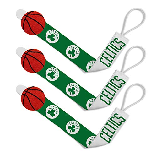 Baby Fanatic NBA Boston Celtics Unisex BCS313Pacifier Clip (3 Pack) - Boston Celtics, See Description, See Description