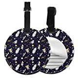 Animal Explorer in Space - Juego de etiquetas para maleta de piel personalizada, accesorios de viaje, etiquetas redondas para equipaje Negro Negro 1 unidad