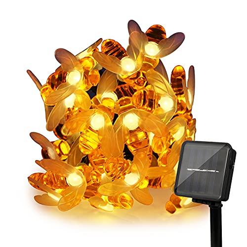 ErChen Solarbetriebene Lichterketten, 30 süße Honeybee LED-Leuchten, 15FT 8 Modi Wasserdichte IP65 Fairy Dekorationsleuchten für Outdoor, Hochzeit, Häuser, Gärten, Terrasse, Party (Warmweiß)