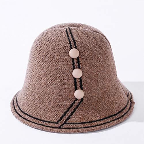 DAIDAIWLH Bucket Hat Damen Hüte Fisherman Cap Mit Button Round Top Outdoor Casual...