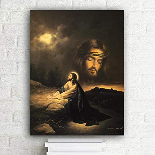 hetingyue Jesus in Gethsemane Garden Portrait Oil Painting on Canvas Posters and Prints Scandinavian Christian Wall Frameless Painting 30X40CM