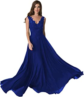 Women's Lace Appliques V Neck Prom Dress Long Chiffon Special Occsion Formal Gowns 2019 QBD104