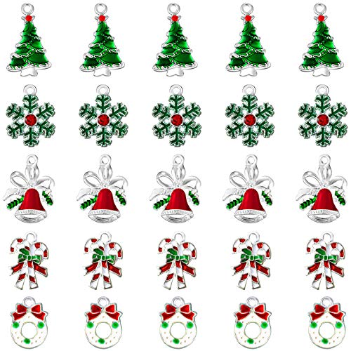 50 Pieces Assorted Enamel Charm Pendants Christmas Tree Charms Snowflake Garland Bell Craft Charm Christmas Theme Decorative Enamel Pendants for DIY Crafts Jewelry Making Supplies