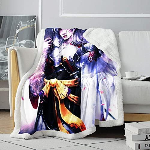 Manta de Tiro con impresión 3D Manta de Cama de Cruce de Inuyasha Manta de impresión Manta cómoda de Amigos 80x120cm