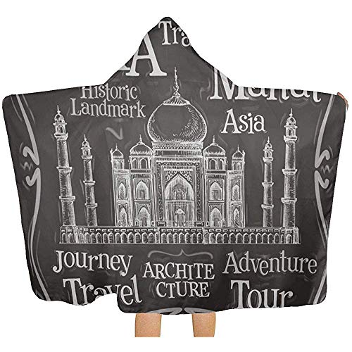 Gustave Tomlinson India Logo Taj Mahal Manta con Capucha, Toalla de baño de Piscina Cubierta Multiusos Cambio de Bata