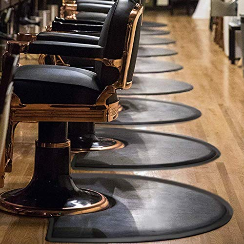 Barber Shop Chair Mat Anti-Fatigue Floor Mat 4′x3′ Salon Floor Mat - Black Semi Circle Salon Mat - 1/2' Thick Office Comfort Floor Mat