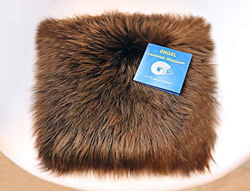 Reissner Lammfelle Engel Naturfelle Sitzauflage NADI-30-MOC aus Lammfell hochwollig quadratisch Fellmaß 40x40cm, naturbraun
