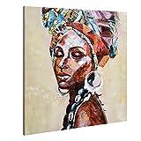 Grandes impresiones en lienzo foto de arte de pared para el hogar pinturas al óleo de niña negra afroamericana 3D pintado a mano colorido moderno mujeres indias