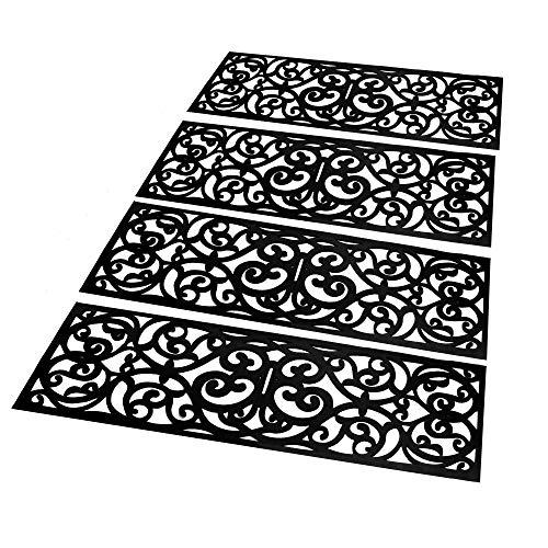 Marches d'escalier en caoutchouc - ensemble de 4 | Décor d'escalier antidérapant | Tapis design en fer forgé | Ensemble de tapis d'escalier antidérapants | M&W