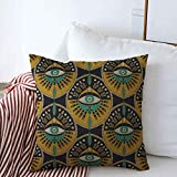 Decorative Square Throw Pillow Covers Pattern Tribal Evil Eye Patterned Bohemian Boho Ethnic Hipster Cushion Case for Sofa Bedroom Car 20 x 20 Inch